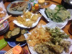 A New Year in Japan - A Fried Japanese Dinner Japanese Dinner, Maitake Mushroom, Tempura, Seafood, Fries, Stuffed Mushrooms, Homemade, Vegetables, Eat