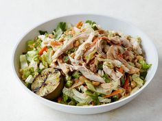Chinese Chicken Salad with Red Chile Peanut Dressing recipe from Bobby Flay via Food Network (easy salad recipes no cook) Rotisserie Chicken Salad, Leftover Rotisserie Chicken, Chicken Salad Recipes, Grilled Chicken, Cooked Chicken, Lunch Recipes, Cooking Recipes, Healthy Recipes, Summer Recipes