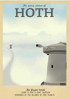 19 Geeky Travel Posters Of Your Favorite Imaginary Locations - Star Wars Rings - Ideas of Star Wars Rings - Like the cold? Love the snow? Then visit Hoth the icy planet! Rent your own Tauntaun when you book today! Star Wars Fan Art, Star Wars Ring, Star Trek, Fantasy Star, Poster Series, Marvel, Star Wars Poster, Travel Posters, Gaming Posters