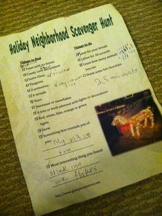 Holiday Neighborhood Scavenger Hunt : Might be a fun addition to a Christmas or caroling party
