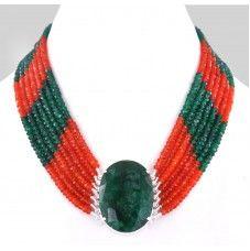 7 Row Carnelian and Green Onyx Gemstone Beaded Necklace