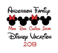 Disney World Family Vacation DH1 T-shirt Tshirt Party Favor Supplies. $11.00, via Etsy.