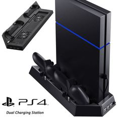 120304-00050 FEATURES Dual Cooler Fans keep your Playstation 4 cool with the cooling system and prolong the lifespan of your PS4 console Powerful char... #charger #sony #playstation #controller #station #vertical #stand #cooling