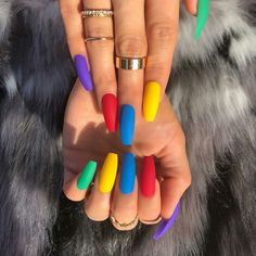 Pretty Multicolored Nail Art Designs For Spring and Summer 2019 rainbow nails, colorful nail art design, French manicure, Multicolored Nail Art Designs Cute Acrylic Nails, Matte Nails, My Nails, Glitter Nails, Acrylic Summer Nails Coffin, Summer Stiletto Nails, Red Gel Nails, Acrylic Nails Stiletto, S And S Nails