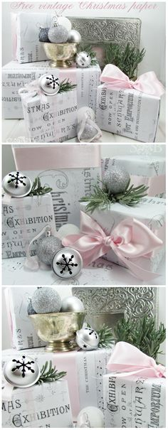 Christmas Gift Wrapping ● vintage themed paper-free download (like the bw/ pink combo)