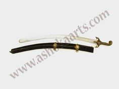 Iranian Persian shamshir sabre with damascus wootz blade and inlaid gold cartouche