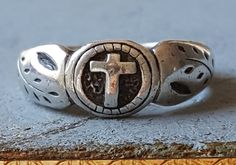 Vintage French Sterling Silver Cross Ring Catholic Jewelry Religious Ring…
