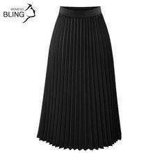 Primavera Las Mujeres Faldas Nuevo 2017 de La Moda de Las Mujeres de Cintura Alta Plisado Sólido Falda Hasta Los Tobillos Plisado Negro Ropa de la Longitud Del Tobillo(China (Mainland))