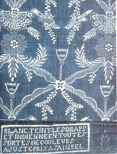 18th century resist dyed linen, French. Jeff Krauss and John Howe on Blue in Rugs and Other Textiles, Part 1, the Lecture | R. John Howe: Textiles and Text