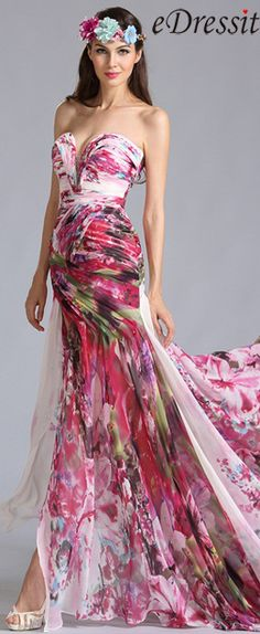 Strapless Sweetheart Printed Evening Dress