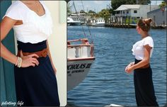 navy blue Maxi Skirt outfit