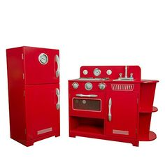 Teamson Kids - Little Chef Amsterdam Retro Play Kitchen - Red Uptown Kitchen, Best Play Kitchen, Wooden Play Kitchen Sets, Red Kitchen, Kitchen Layout, Colorful Furniture, Cheap Furniture, Kitchen Furniture, Retro Furniture