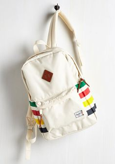 When the open road calls your name, travel in style with this colorfully striped backpack by Herschel Supply Co. This leather-accented bag - complete with a zippered… Pretty Backpacks, Stylish Backpacks, Girl Backpacks, Cream Backpacks, Chevron Backpacks, Rucksack Bag, Backpack Bags, Fashion Backpack, Laptop Backpack