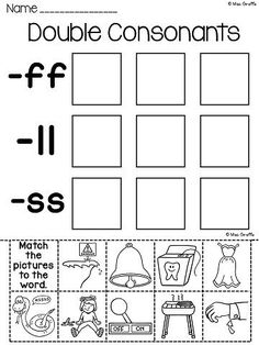 phonics double final consonants review worksheet lesson planet 1st grade pinterest. Black Bedroom Furniture Sets. Home Design Ideas