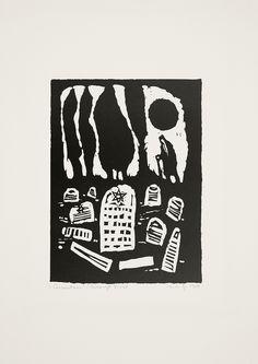 Jerzy Duda Gracz   CMENTARZ, Z CYKLU JUDAICA, 1964   linoryt, papier   16.5 x 12.5 cm
