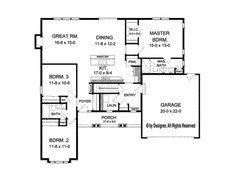 Ranch House Plan - 1,601 sq. ft. - 3 bedroom - Open Floor Plan