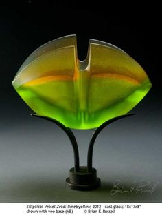 Elliptical Vessel Zeta, Lime and Yellow, Cast Glass by Brian Russell, 2012: