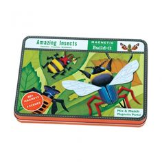 Amazing Insects Magnetic Set: This fun set includes 4 illustrated background scenes on 2 double-sided cards plus 3 sheets of interchangeable magnets. Design Set, 3d Puzzel, Busy Boxes, Preschool Science, Bold Stripes, Cool Toys, Little Ones, Kids Toys, Magnets