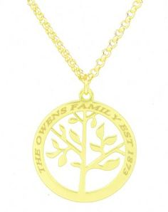 Heart Family Tree Necklace in 18ct Gold Plating - Custom Made with Any Name! 3m1PGWIR