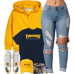 yellow zip up & thrasher Lit Outfits, Cute Swag Outfits, Cute Outfits For School, Teen Fashion Outfits, Outfits For Teens, Trendy Outfits, Winter Swag Outfits, Fashion Ideas, Shopping Outfits