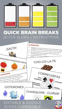 Quick brain breaks - cue slides that you can add to any slideshow that you use in class plus instructions for super simple brain breaks in Spanish class! Spanish Basics, Spanish Lessons, Learn Spanish, Spanish 1, Spanish Pictures, Spanish Alphabet, French Lessons, Spanish Teacher, Spanish Classroom