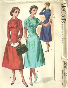 McCalls 3751 Vintage 50s Sewing Pattern Dress by studioGpatterns, $14.50