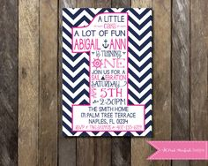 Custom Printable Preppy Nautical Birthday Party Invitation for girls