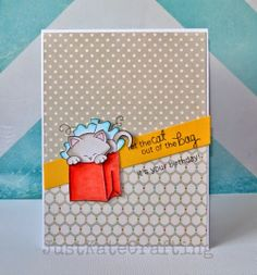 Just Kate crafting: Inky paws 8 - Cat birthday card for Newton's Nook Designs Inky Paws Challenge