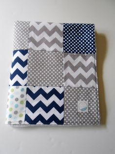 Minky Baby Boy Patchwork Quilt Blanket Riley Blake Chevrons and Dots Michael Miller Navy Gray--Made to Order by KristensCoverlets on Etsy Patchwork Tiles, Patchwork Blanket, Patchwork Cushion, Patchwork Baby, Crazy Patchwork, Patchwork Patterns, Quilting Projects, Sewing Projects, Cushion Cover Pattern