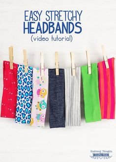 Sewing For Kids Easy Tutorial: Easy stretchy knit headbands - These stretchy knit headbands are easy to sew! Jamie from Scattered Thoughts of a Crafty Mom shares a tutorial showing. She's got written instructions and also a video if you prefer to watc… Sewing Headbands, Stretchy Headbands, Fabric Headbands, Sewing Basics, Sewing Hacks, Sewing Tutorials, Sewing Projects, Basic Sewing, Knit Headband Pattern