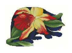 Counted Cross Stitch Orchid Cat by Myrea Pettit. Lena Lawson Needle Arts has fabulous cross stitch charts for sale.