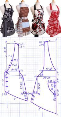 Tuto : Comment Faire tablier de cuisine – … Tuto: How to Make Kitchen Apron – 'Or' What Sewing Aprons, Dress Sewing Patterns, Sewing Patterns Free, Sewing Clothes, Clothing Patterns, Diy Clothes, Retro Apron Patterns, Apron Pattern Free, Leaf Patterns
