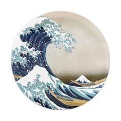 Restored Great Wave off Kanagawa by Hokusai Paper Plate - vintage gifts retro ideas cyo