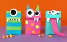 "Funny monsters: Any bright box can be turned into a ""monster"" if you decorate it with eyes, teeth, and a tongue. Kids will appreciate such cool packaging!"