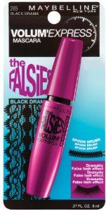 Maybelline New York The Falsies Volum' Express Washable Mascara, Black Drama 285, 0.27 Fluid Ounce by Maybelline. $5.64. Creates a dramatic false lash look. Extra long fibers and carbon black pigments. Unique flexible wand lifts  separates lashes. unique flexible wand helps to lift and separate to provide the look of more lashes. patented spoon brush loads every lash with extra long fibers and carbon black pigments to instantly build volume for a dramatic false l...