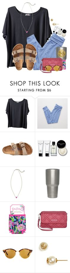 """Getting comfy for the rain"" by flroasburn ❤ liked on Polyvore featuring Kavu, Aerie, Birkenstock, Bobbi Brown Cosmetics, Kendra Scott, Lilly Pulitzer, Vera Bradley, Ray-Ban and Tory Burch"