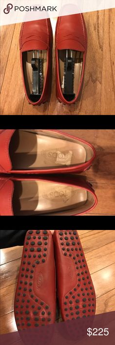 Men's 9.5 Tod's drivers red leather Worn a few times gently work photos show use Tod's Shoes Loafers & Slip-Ons