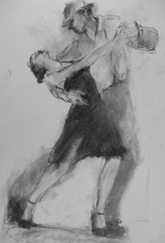 Connie Chadwell's Hackberry Street Studio: Tango Sketch - original charcoal figurative drawing by Connie Chadwell