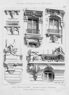Motifs d& moderne Architecture Concept Drawings, Classic Architecture, Gothic Architecture, Historical Architecture, Architecture Details, Islamic Motifs, Neoclassical Architecture, House Front Design, Brick And Stone