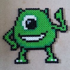 Mike Wazowski - Monsters, Inc perler beads by Sprite Planet Perler Bead Designs, Hama Beads Design, Pearler Bead Patterns, Pearler Beads, Pixar, Hama Beads Disney, Monsters Ink, Mike Wazowski, Bead Kits