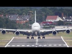 Airbus A350 Take-off + Airbus A380 head-on Landing (HD)