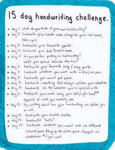 handwriting challenge-wouldn't exactly use this list, but I like this concept.
