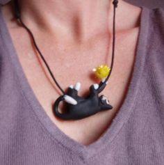 """collier """"chat foufada"""" - pendentif - Atelier Créatif du Caillou Perdu - Fait Maison"""