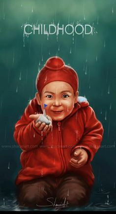 Amazing! by: Sharan Art #CHILDHOOD #PAPERBOAT #RAIN #LOVE #digitalpainting #cute #innocence