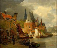 Andreas Achenbach (1815 – 1910) Amsterdam Harbor Scene, 1885, oil on canvas., Private collection