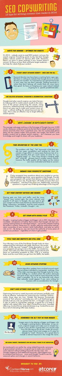 13 #Tips for writing content that ranks #Seo [ #infographic ]