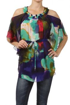 100 percent Polyester 1S/2M/2L/1XL Per Pack Multi Color This HIGH QUALITY top is VERY CUTE! Made from a soft and comfy fabric, this multicolored sheer relaxed top with cutout sleeves, embellished collar, and a waist tie detail is hand washable, and fits true to size.
