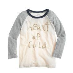 girl's style: heart of gold baseball tee
