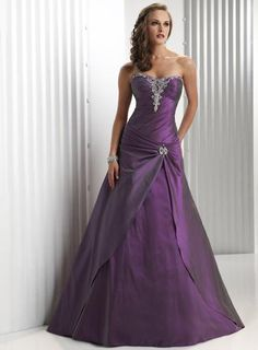 Cheap Plum Strapless Full length Beaded A-line Prom Gown Evening Gown Dress on sale at weddingdressbraw.com