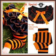 Halloween Baby Bloomers and Legwarmers Special! #halloweenbaby #blackandorange